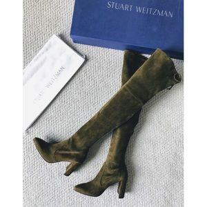 Stuart Weitzman Olive Suede Over-The-Knee Boots
